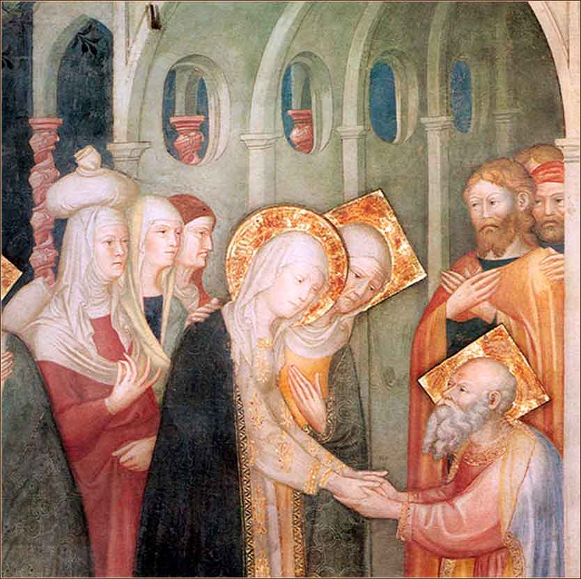 <i>Elizabeth and Mary Greet Zechariah</i> by Lorenzo and Jacopo Salimbeni, ca. 1416