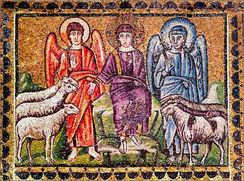 Christ separating the sheep and goats, 6th century mosaic in Sant