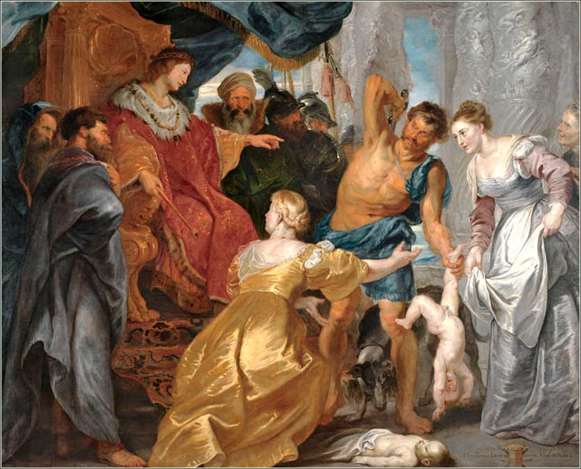 <i>The Judgment of Solomon</i> by Peter Paul Rubens, ca. 1617.