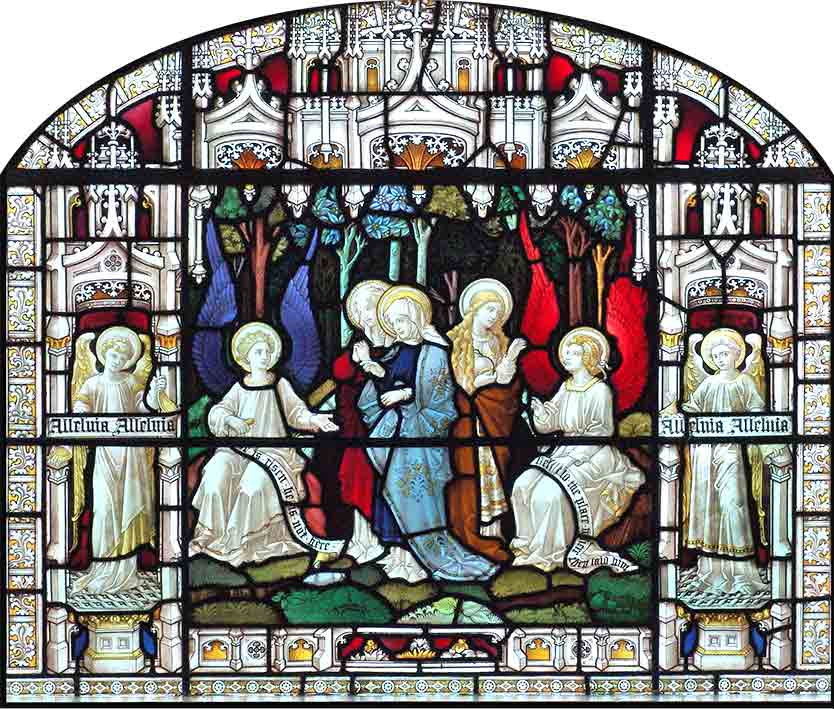 Main window of St. Barnabas Episcopal Church, Irvington, NY, showing Mary, Mary Magdalene, and Joanna discovering the empty tomb.
