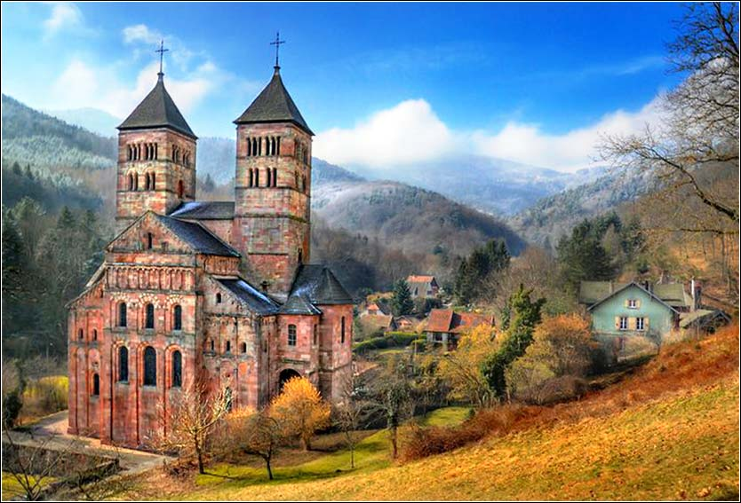 The beautiful Church of St. Leger, Alsace, France.