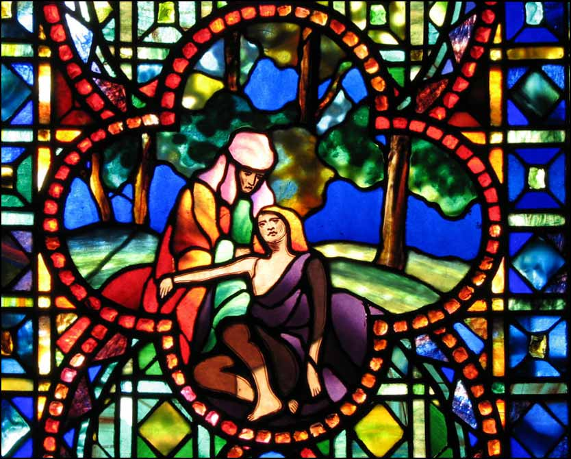 <i>The Good Samarian</i> by Louis Comfort Tiffany, located in The Theodore Parker Church, West Roxbury, Massachusetts.