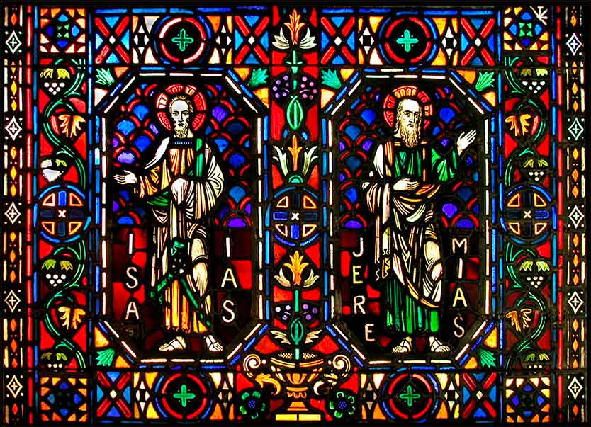 Stained glass window in Poitiers Cathedral, France, depicting the prophets Isaiah and Jeremiah.