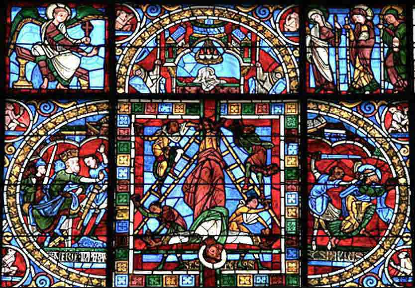 Poitier Cathedral, stained glass, the crucifixion of Peter