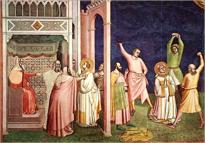 <i>The Stoning of Stephen</i> by Bernardo Daddi, ca. 1348. At the Vatican Museum.