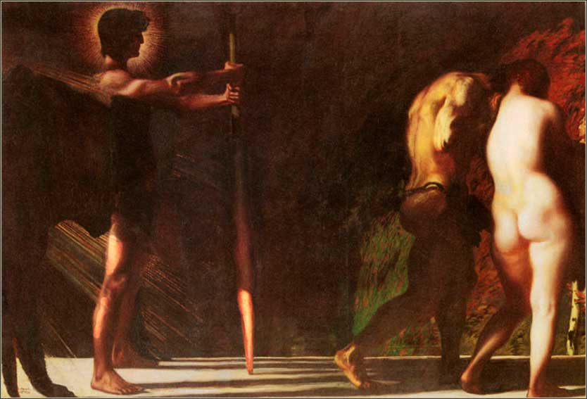 <i>The Lost Paradise</i> by Franz von Stuck, ca. 1897. |After he drove the man out, he placed on the east side of the Garden of Eden cherubim and a flaming sword.| (Genesis 3:24)