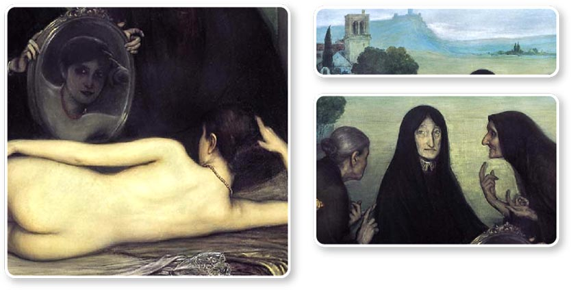 <i>The Sin</i> and <i>Two Paths</i>, triptych by Julio Romero de Torres, ca. 1906.