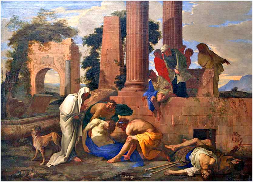 <i>Tobit Burying the Dead</i> by Andrea di Lione, ca. 1640.