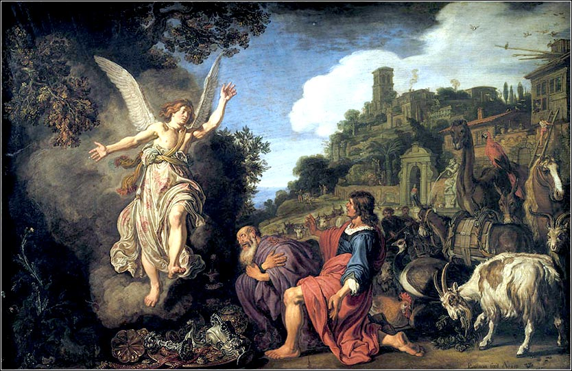 <i>The Angel Raphael Takes Leave of Old Tobit</i> by Pieter Lastman, ca. 1620.