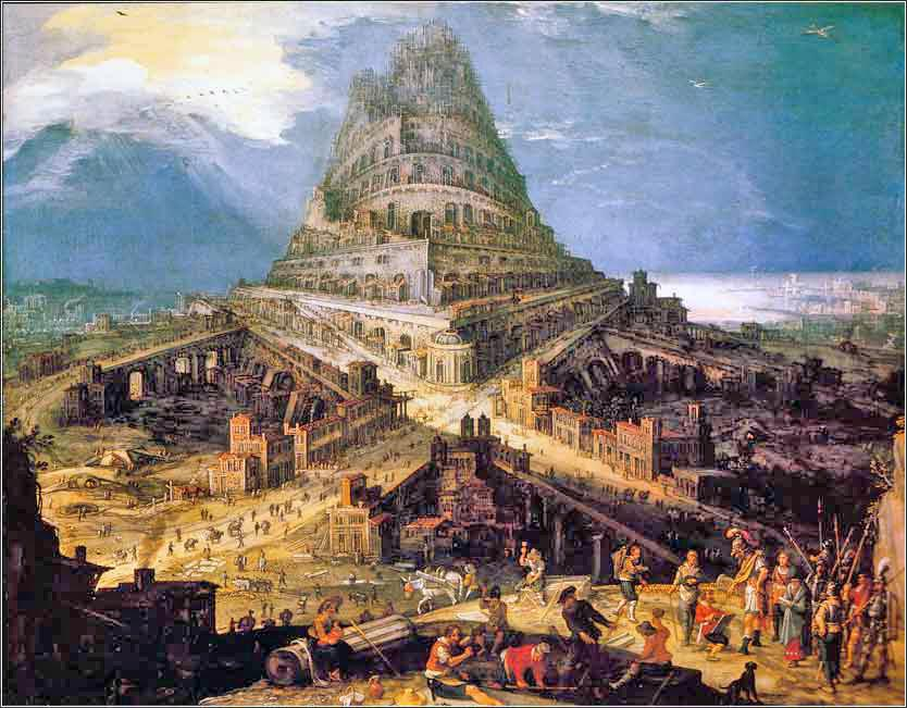 Devotional painting of the Tower of Babel, van Cleve