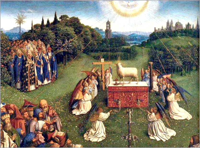 i>Adoration of the Lamb (detail)</i>, from the Ghent Altarpiece by  Jan van Eyck, ca. 1432.