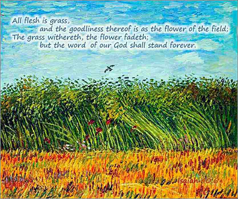 <i>Wheat Field with a Lark,</i> Vincent Van Gogh ca. 1887. Text Isaiah 40:6.