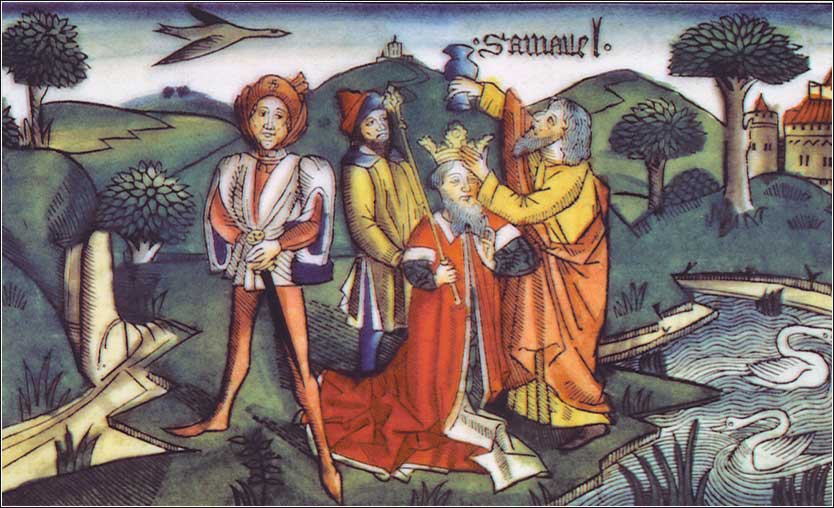 <i>Samuel anoints Saul</i>, from the Nuremberg Bible (1483).