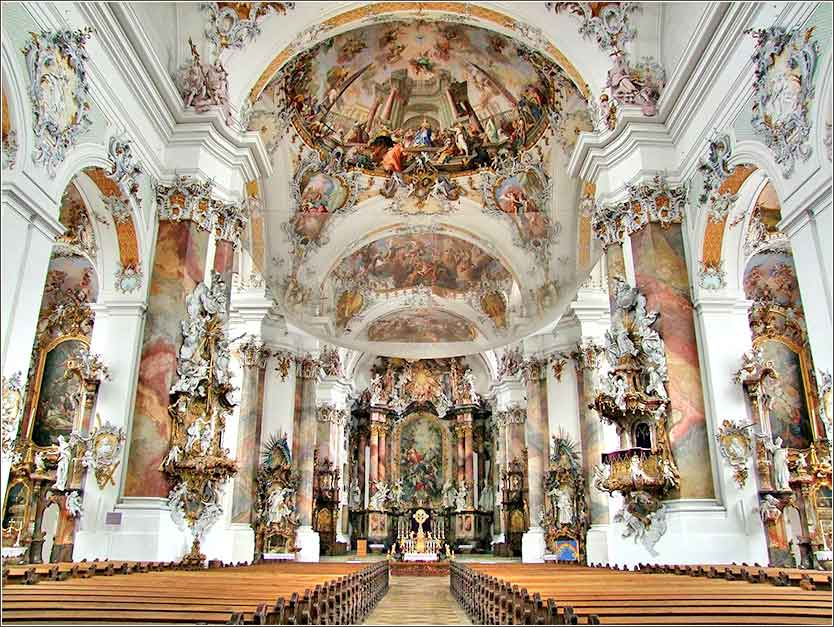 The basilica of Ottobeuran Abbey, in Bavaria.