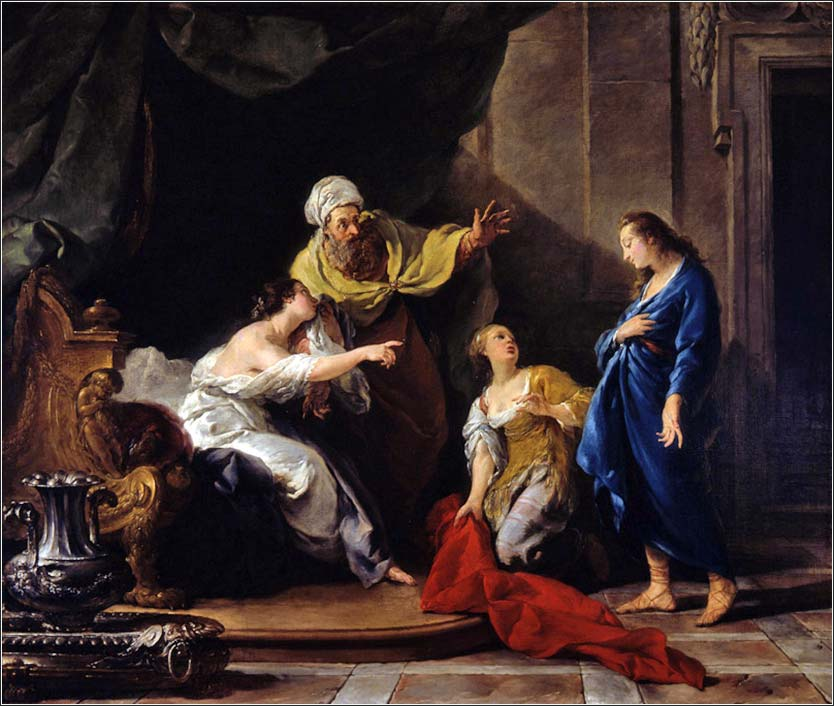 <i>Joseph Accused by Potiphar's Wife</i>, by  Noël Hallé, ca. 1760.