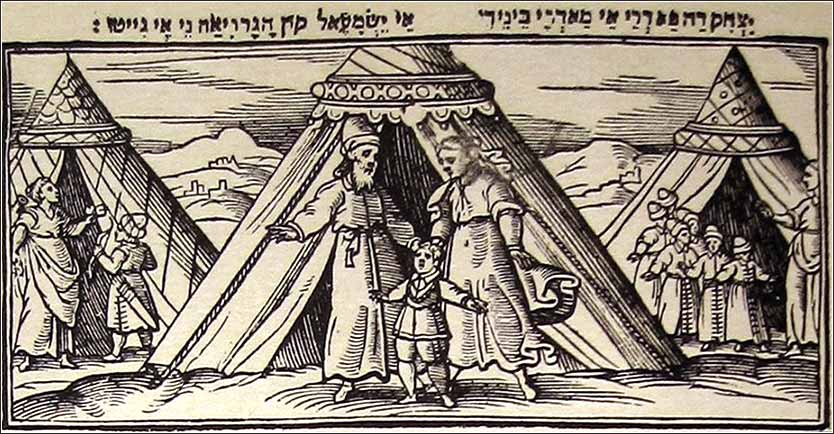 The wives and sons of Abraham depicted on the 1630 <i>Venice Haggadah</i>. Keturah stands at far right with her six sons.