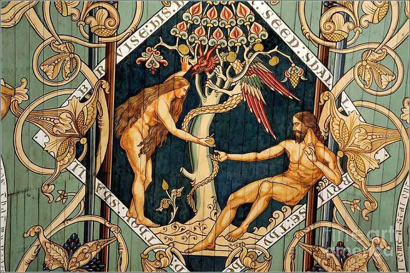 <i>Temptation of Adam and Eve</i>, a painting on the wooden ceiling of the nave of Ely Cathedral in England.