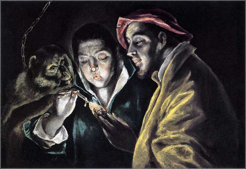 <i>An Allegory with a Boy Lighting a Candle in the Company of an Ape and a Fool,</i> by El Greco, ca. 1598.
