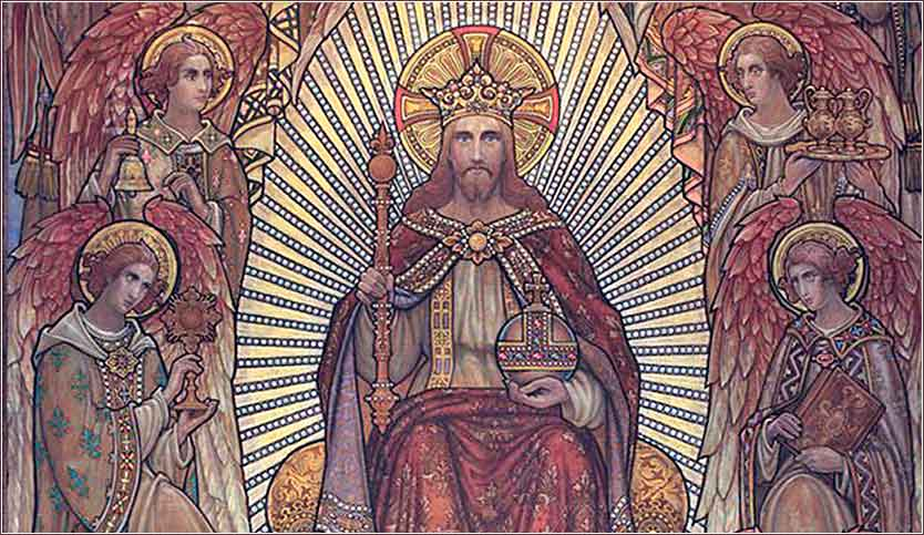Tapestry of Christ the King (detail), artist unknown|Saint James the Greater Roman Catholic Church in Saint Louis
