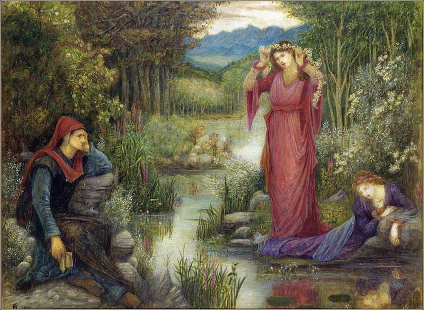 <i>Dante's Vision of Leah and Rachel</i>, by Marie Spartali Stillman, 1887.