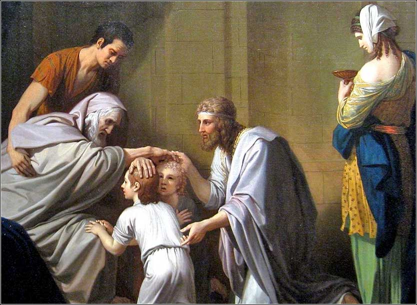<i>Jacob Blessing Manasseh and Ephraim</i>, by Benjamin West, ca. 1800.