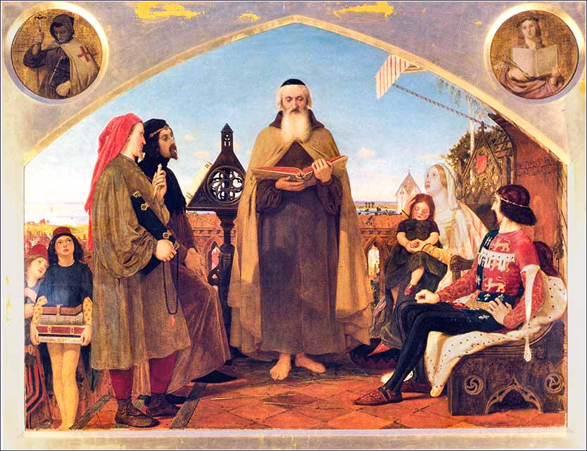<i>John Wycliffe Reading His Translation of the Bible to John of Gaunt</i>, by Ford Madox Brown, ca. 1847.