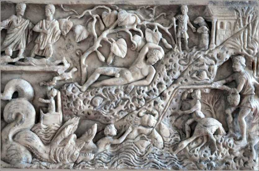 This depiction of Jonah sitting under the plant is found on a 3d century Christian sarcophagus discovered in Mainz, Germany.