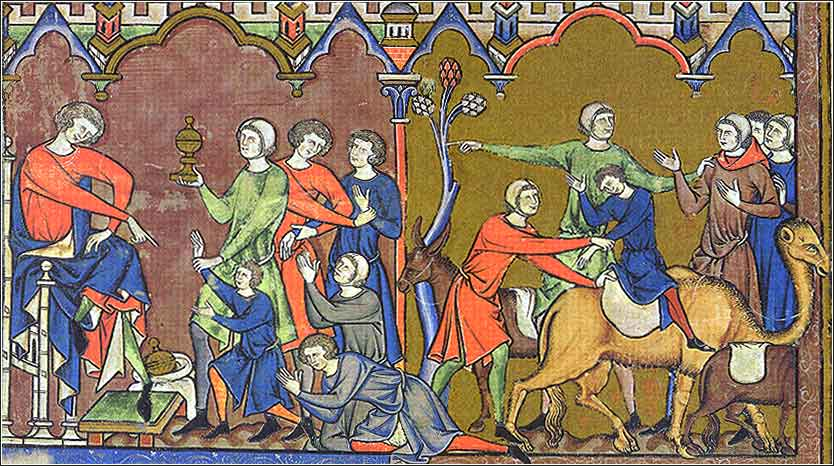 i>Joseph and Benjamin,</i> from the Morgan Bible, French ca. 1250.