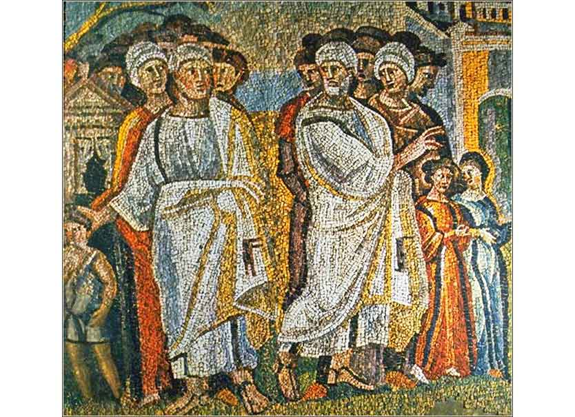 <i>The Parting of Lot and Abraham,</i> ca. 430, is one in a series of mosaic scenes that decorate the nave wall of Santa Maria Maggiore, Rome.