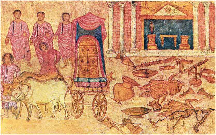 Fresco of the Philistine captivity of the ark, in the Dura-Europos synagogue.