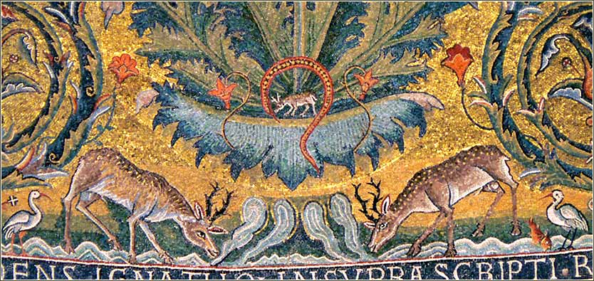 Mosaic illustrating Psalm 42, found in the Basilica of San Clemente, Rome, ca. 1150 A.D.