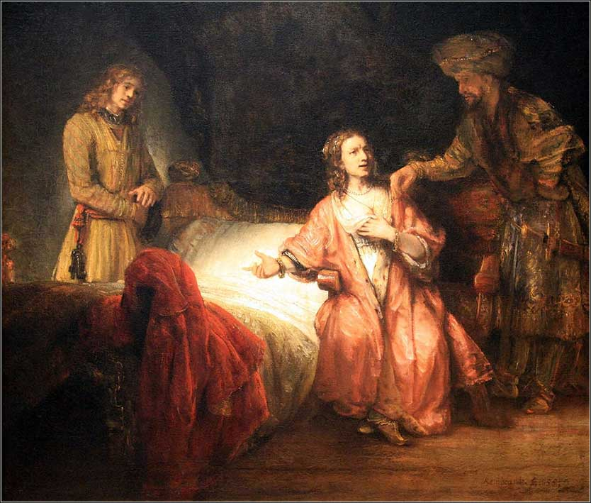 <i>Joseph Accused by Potiphars Wife</i>, by Rembrandt Van Rijn,1655.