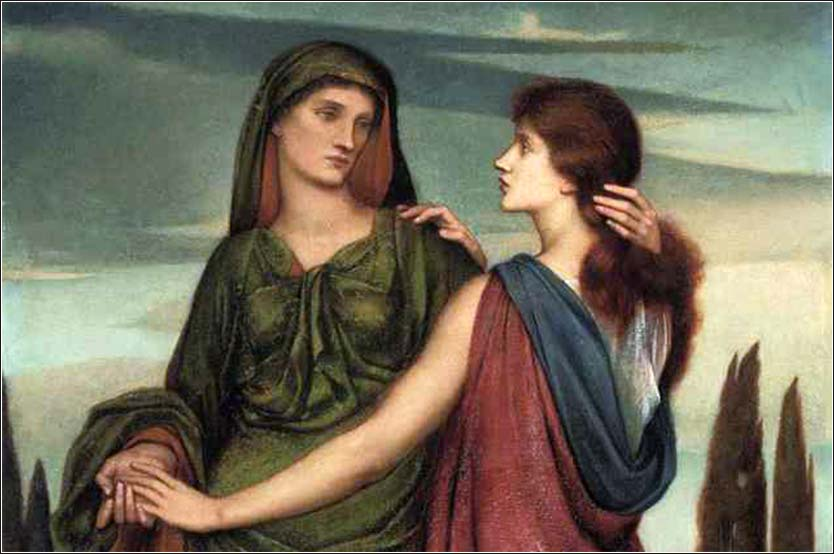 <i>Ruth and Naomi (detail)</i>, by Evelyn De Morgan, 1887.