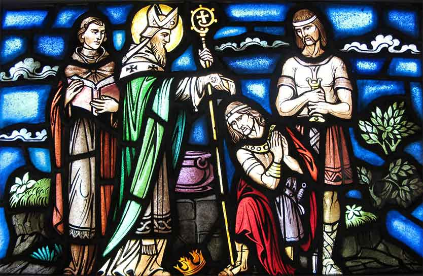 <i>St. Patrick baptizing the King of Cashel</i>. Few people realize that Patrick is not actually canonized in the Catholic Church!